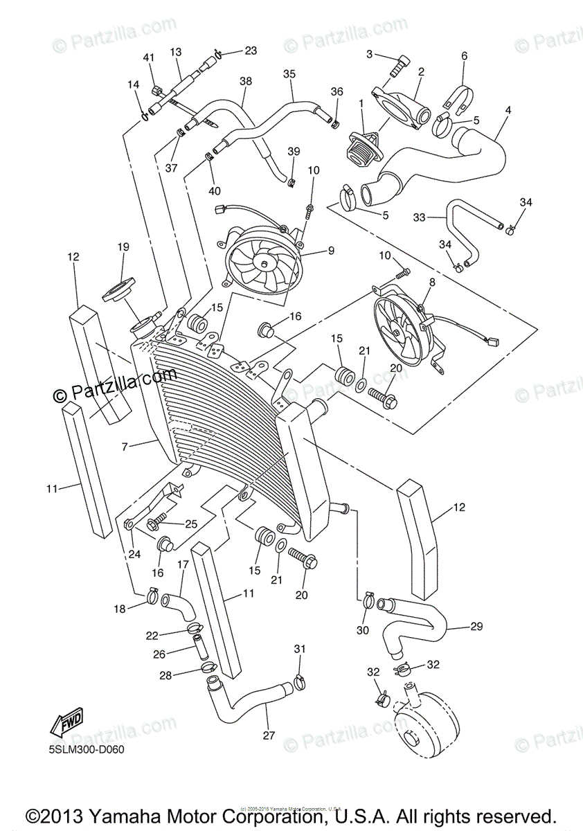 Yamaha Motorcycle 2005 OEM Parts Diagram for RADIATOR HOSE