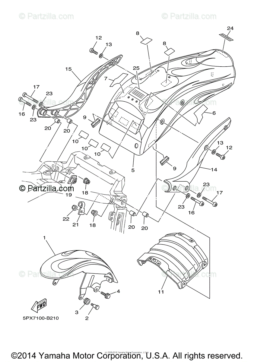Yamaha Motorcycle 2003 OEM Parts Diagram for Fender