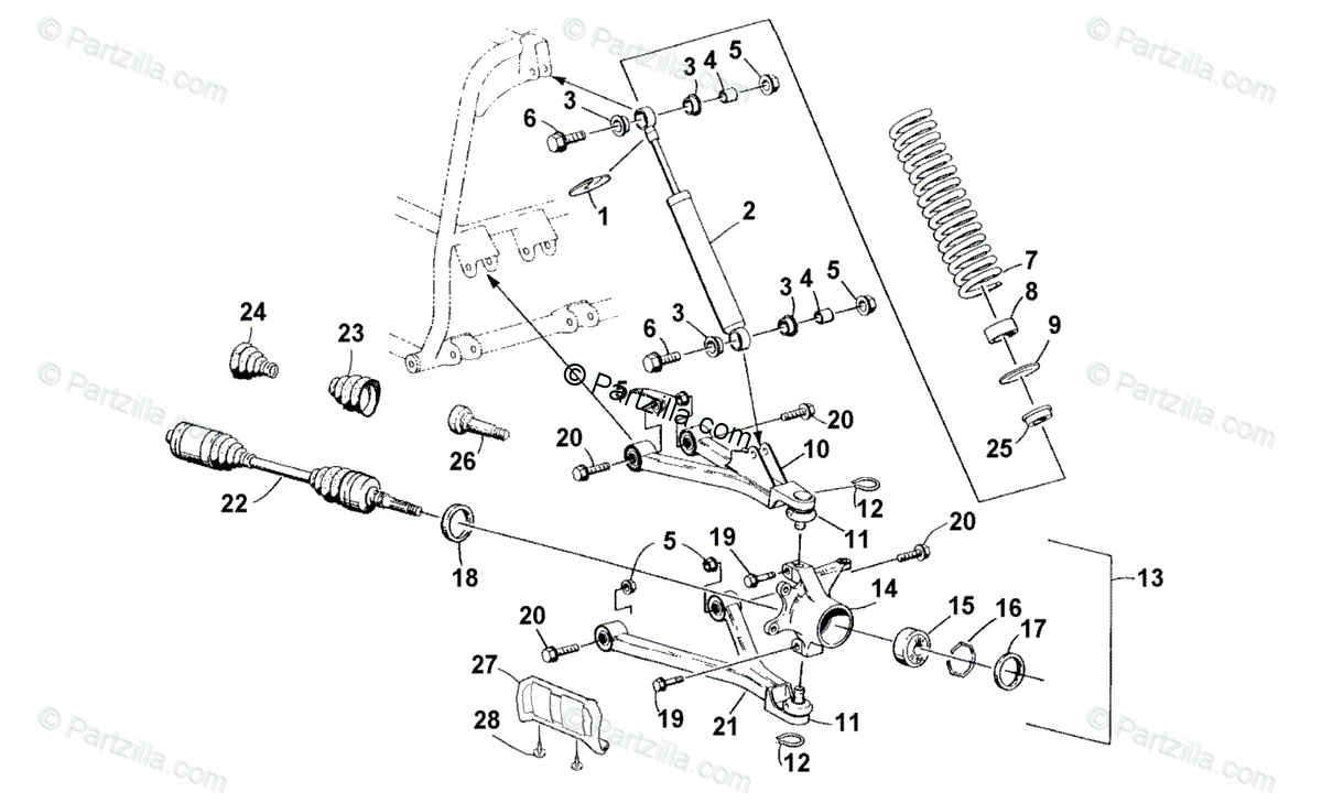 Arctic Cat ATV 2001 OEM Parts Diagram for Front Suspension