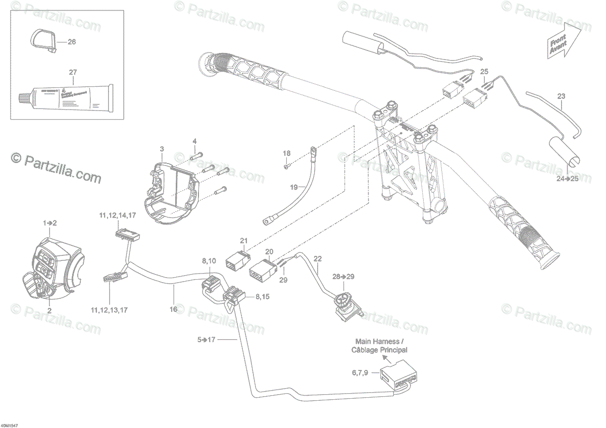 Ski-Doo 2015 SKANDIC SWT 550 OEM Parts Diagram for