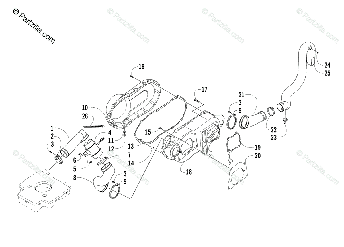 Arctic Cat ATV 2008 OEM Parts Diagram for Case/Belt
