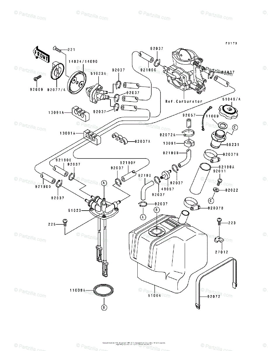 Kawasaki Jet Ski 1991 OEM Parts Diagram for Fuel Tank