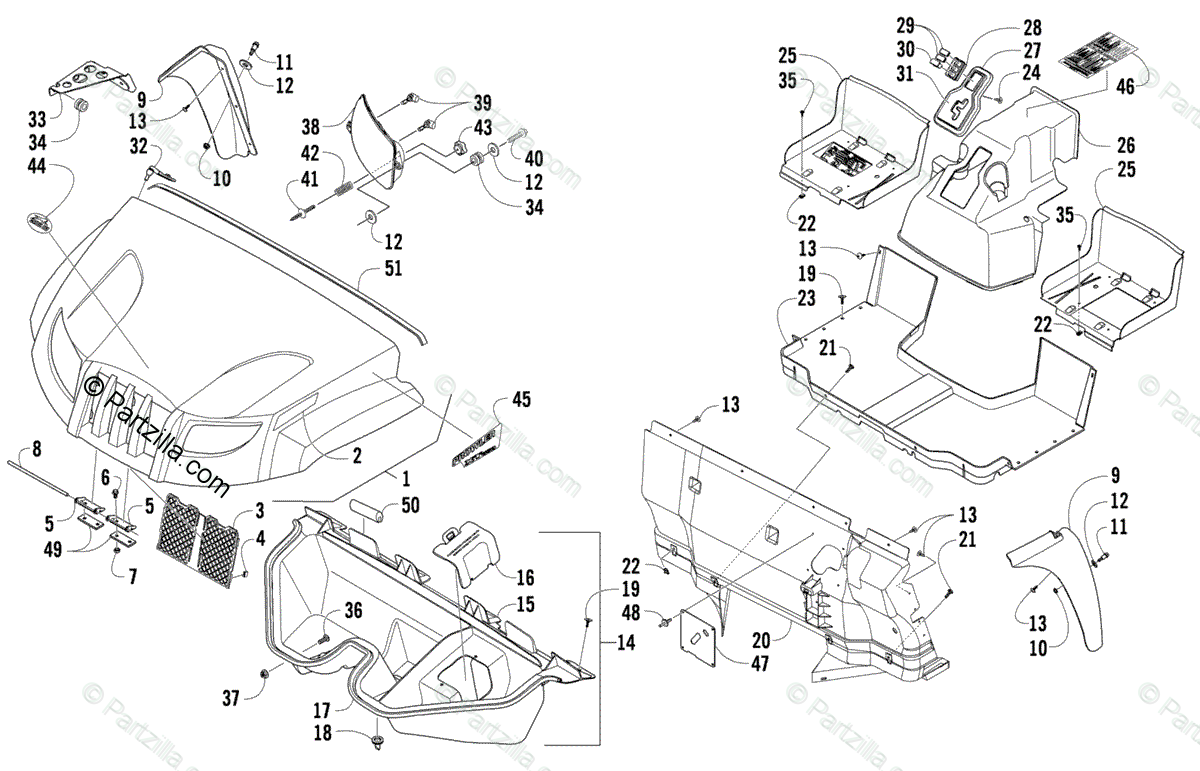 Arctic Cat Side by Side 2009 OEM Parts Diagram for Front
