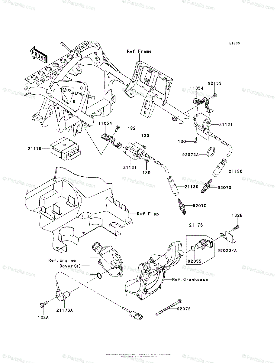 Kawasaki ATV 2012 OEM Parts Diagram for Ignition System