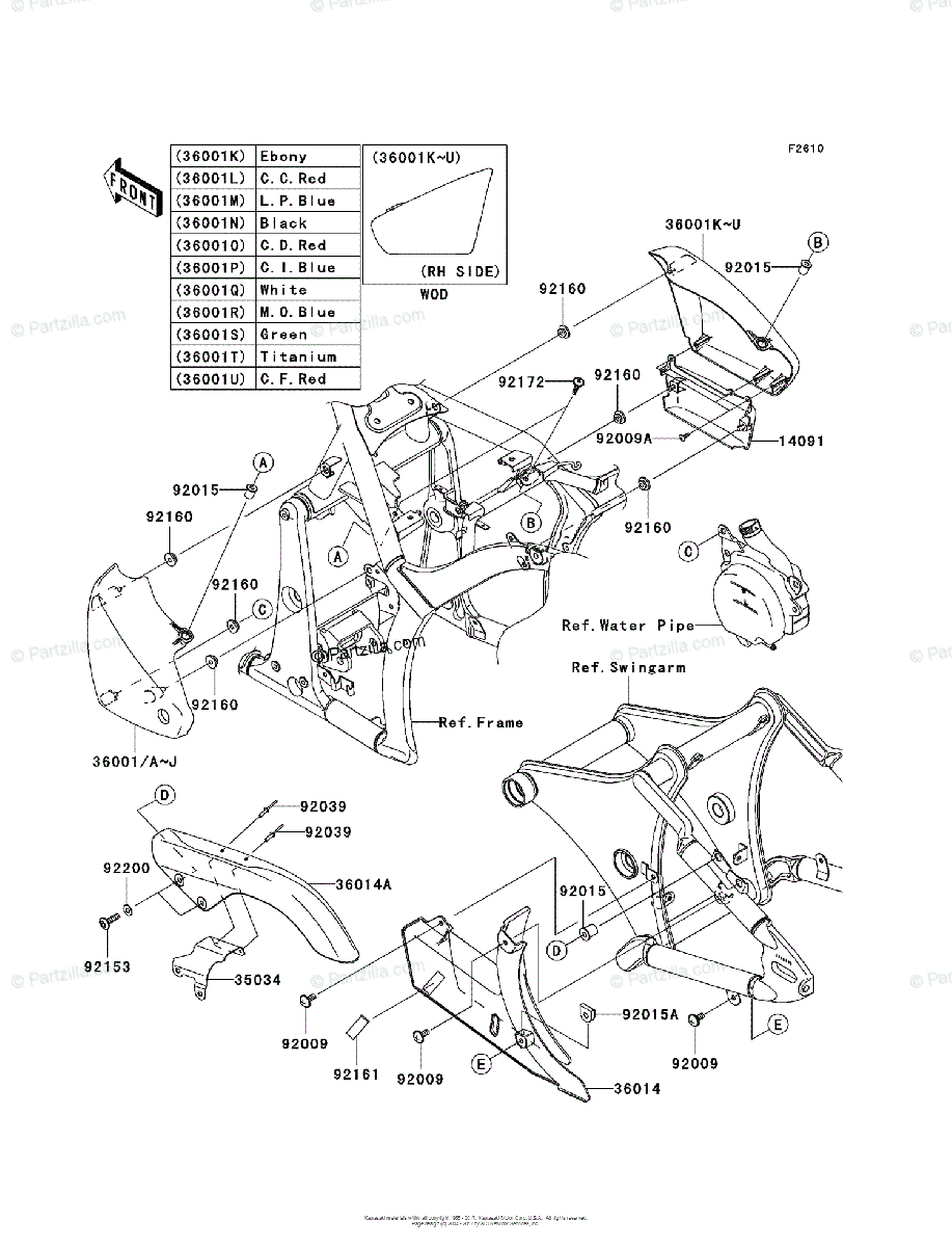 Kawasaki Motorcycle 2006 OEM Parts Diagram for Side Covers