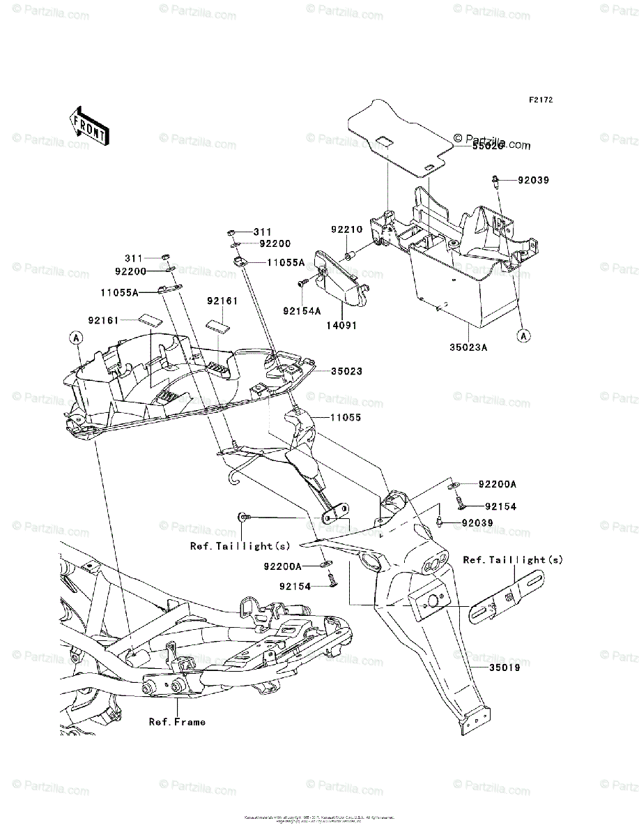 Kawasaki Motorcycle 2011 OEM Parts Diagram for Rear Fender