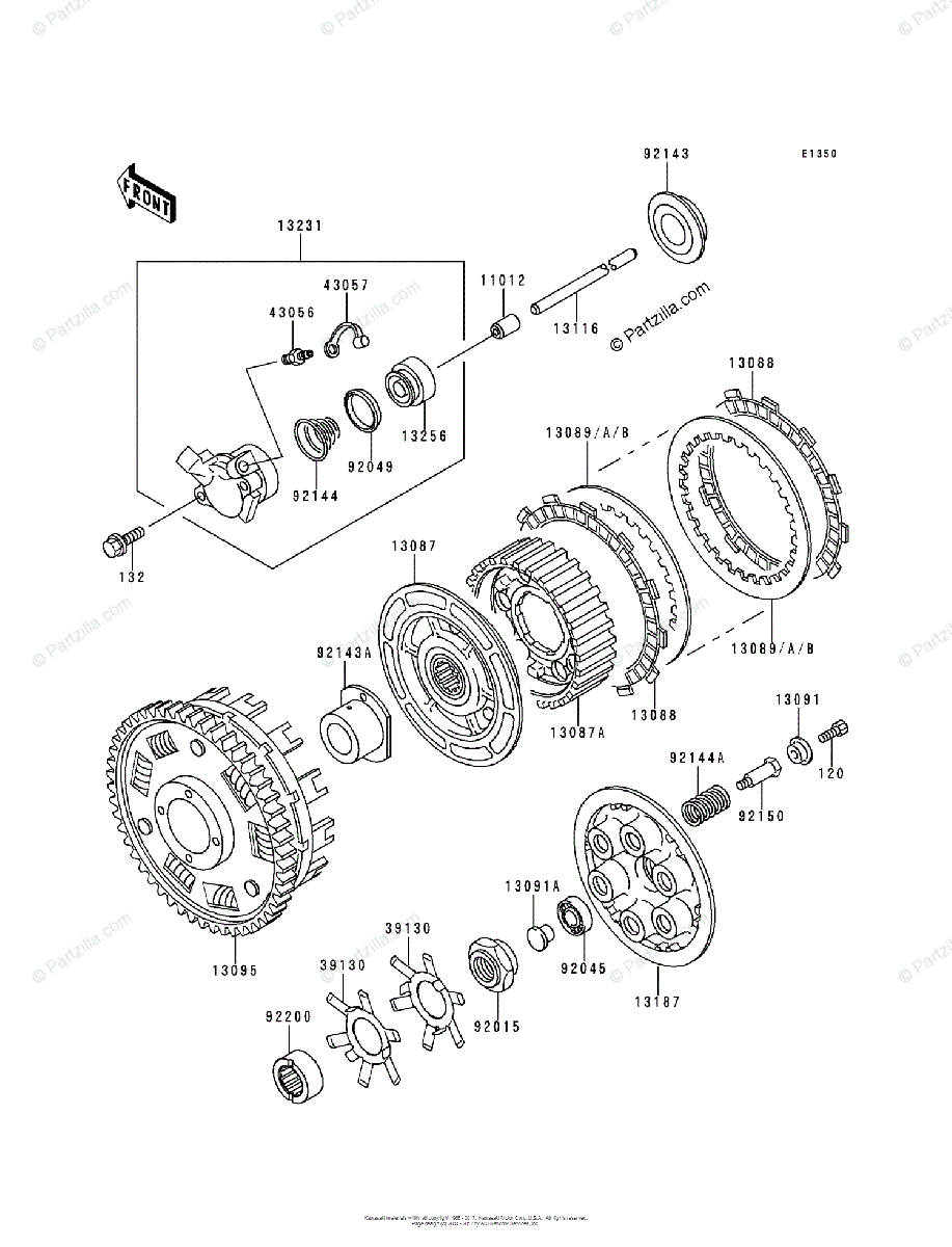 Kawasaki Motorcycle 1994 OEM Parts Diagram for Clutch