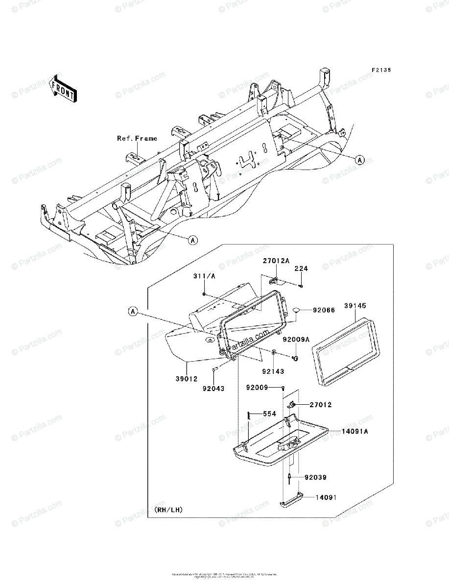 Kawasaki Side by Side 2009 OEM Parts Diagram for Front Box