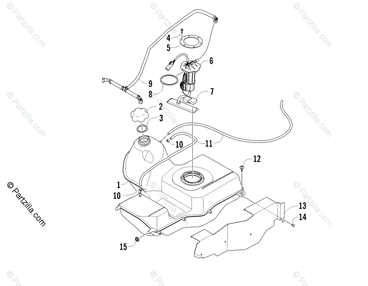 Arctic Cat ATV 2013 OEM Parts Diagram for Gas Tank