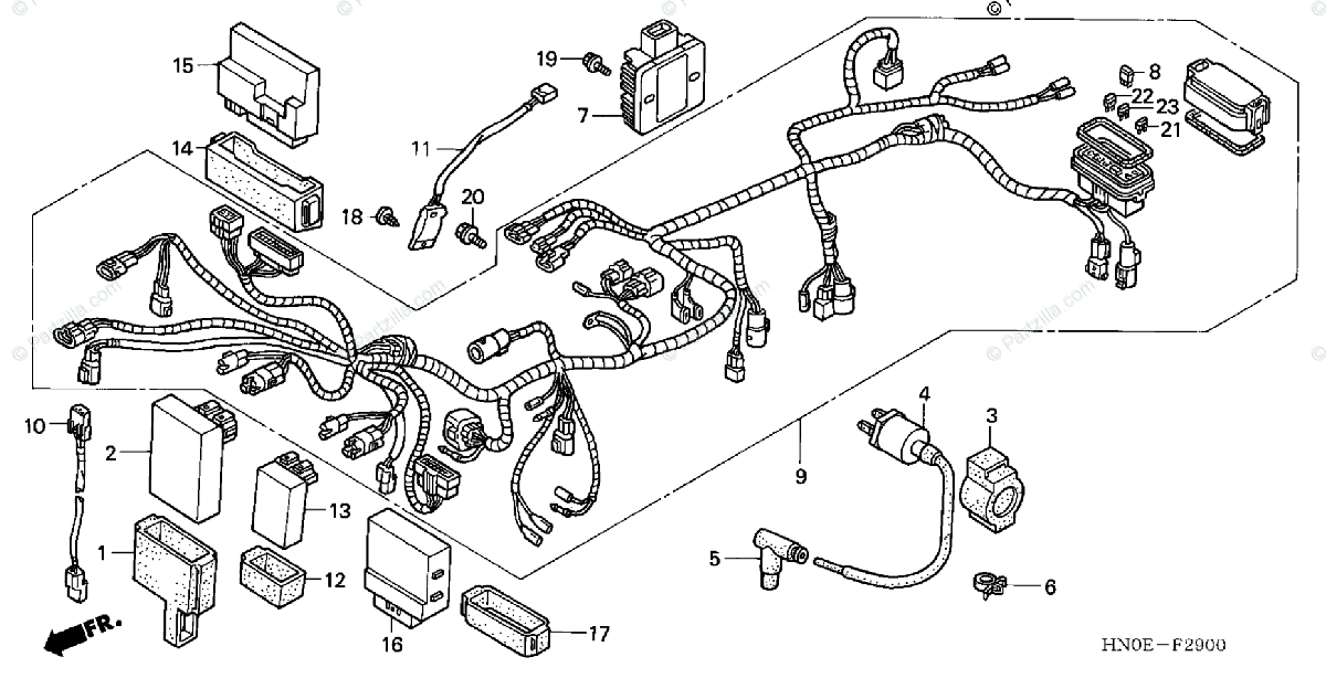 Honda ATV 2002 OEM Parts Diagram for Wire Harness