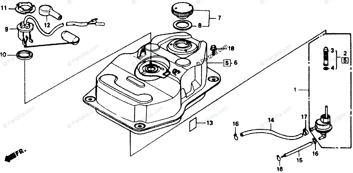 Honda Scooter 1985 OEM Parts Diagram for Fuel Tank