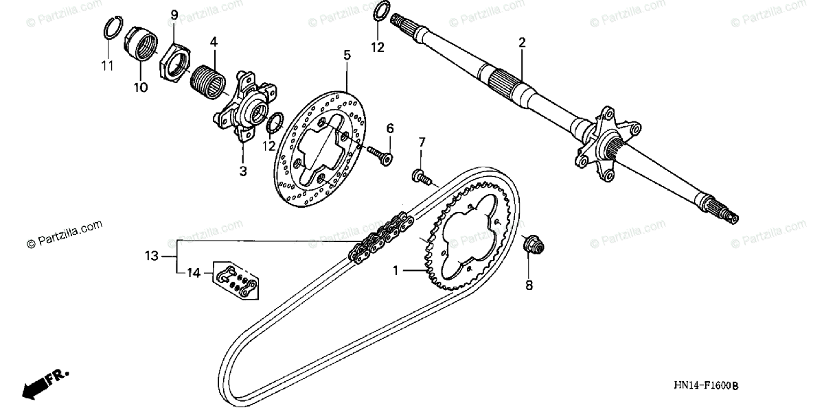 Honda ATV 2000 OEM Parts Diagram for Rear Axle / Drive