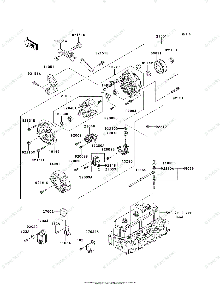 Kawasaki Side by Side 2012 OEM Parts Diagram for Generator