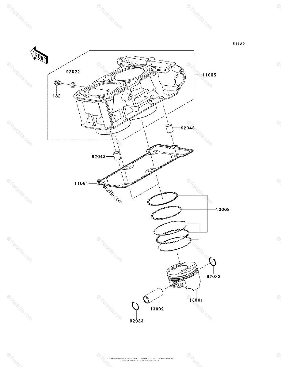 Kawasaki Motorcycle 2014 OEM Parts Diagram for Cylinder
