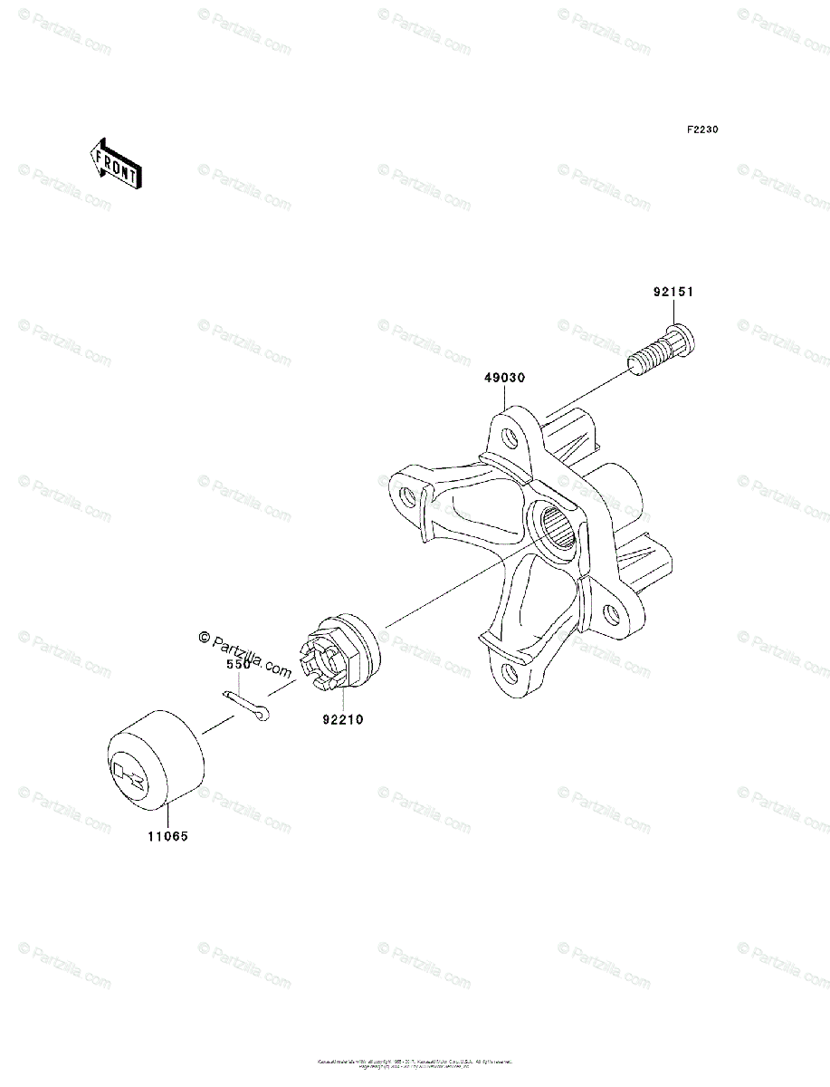 Kawasaki ATV 2004 OEM Parts Diagram for Front Hub