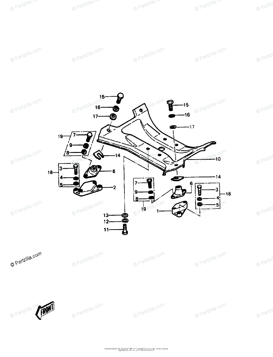 Kawasaki Jet Ski 1986 OEM Parts Diagram for Engine Mount