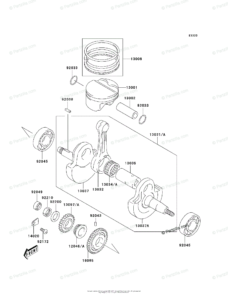 Kawasaki ATV 2003 OEM Parts Diagram for Crankshaft/Piston