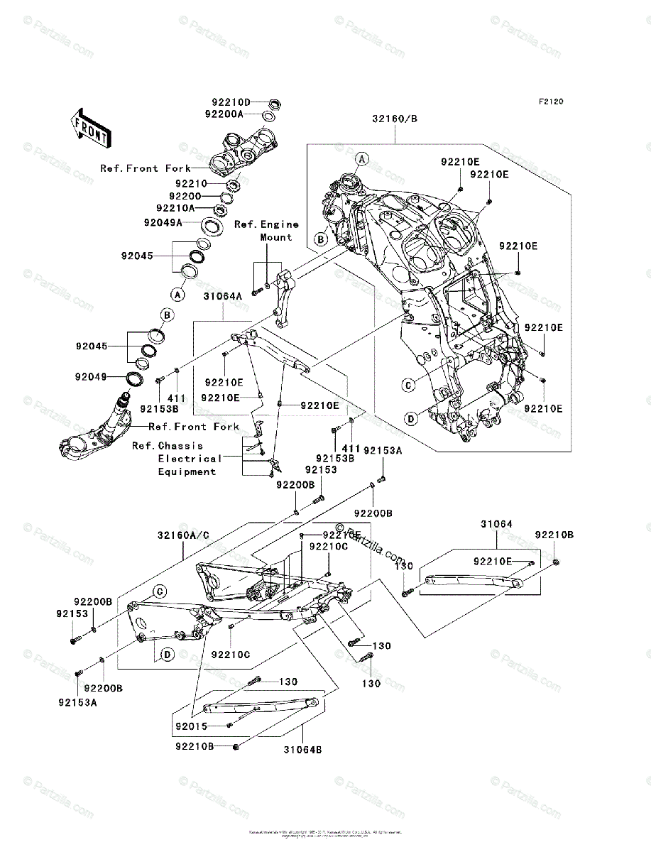 Kawasaki Motorcycle 2006 OEM Parts Diagram for Frame