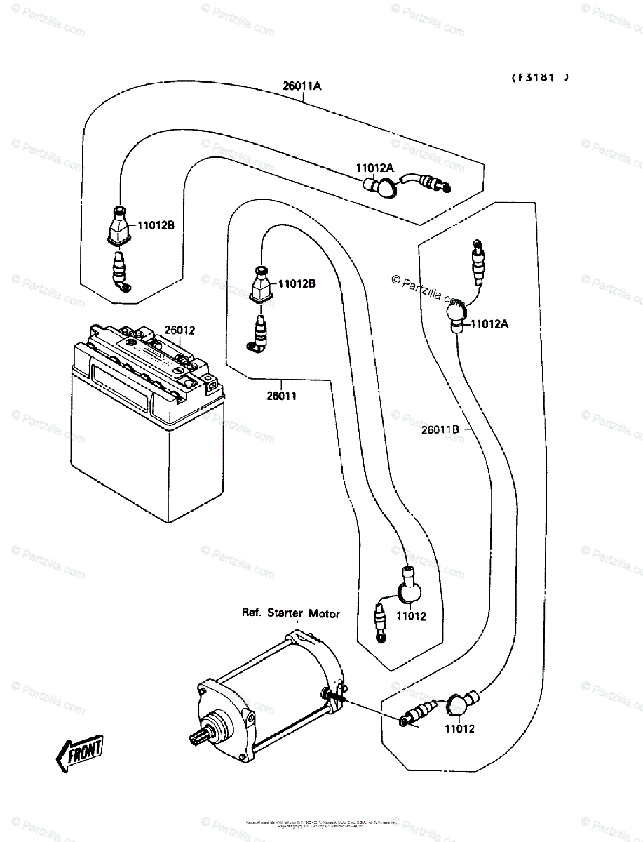Kawasaki Jet Ski 1989 OEM Parts Diagram for Electrical
