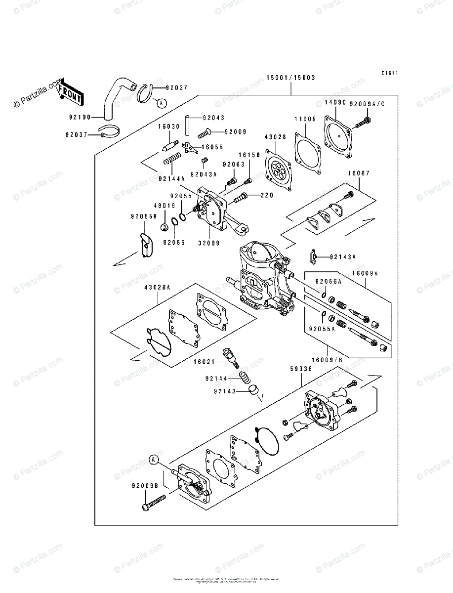 Kawasaki Jet Ski 1991 OEM Parts Diagram for Carburetor