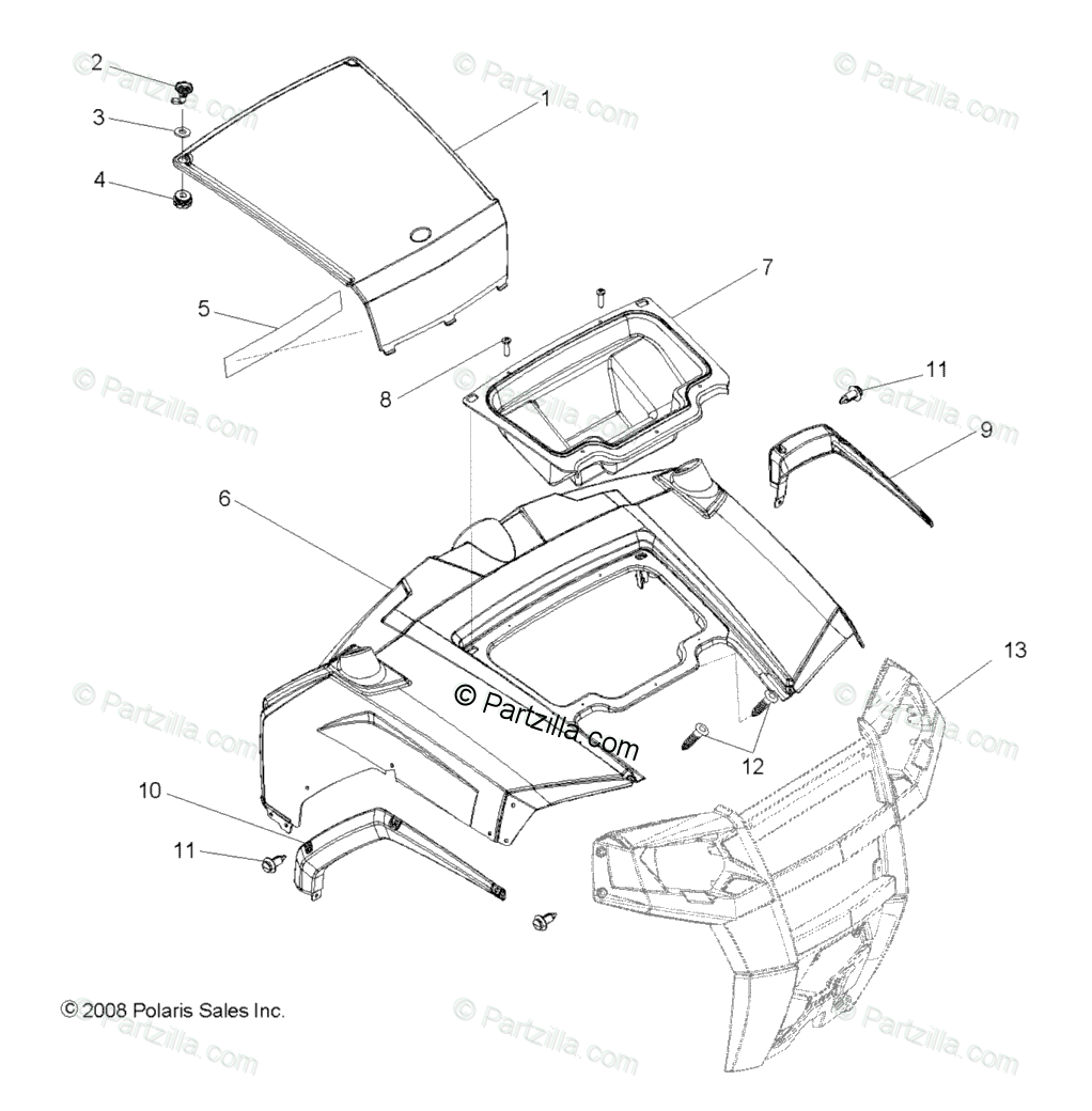 Polaris Side by Side 2009 OEM Parts Diagram for Body, Hood