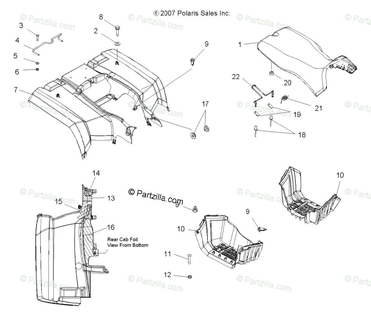 Polaris ATV 2010 OEM Parts Diagram for Body, Rear Cab