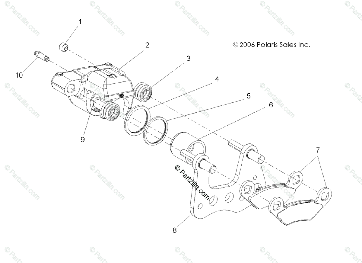 Polaris Atv Oem Parts Diagram For Brake Caliper