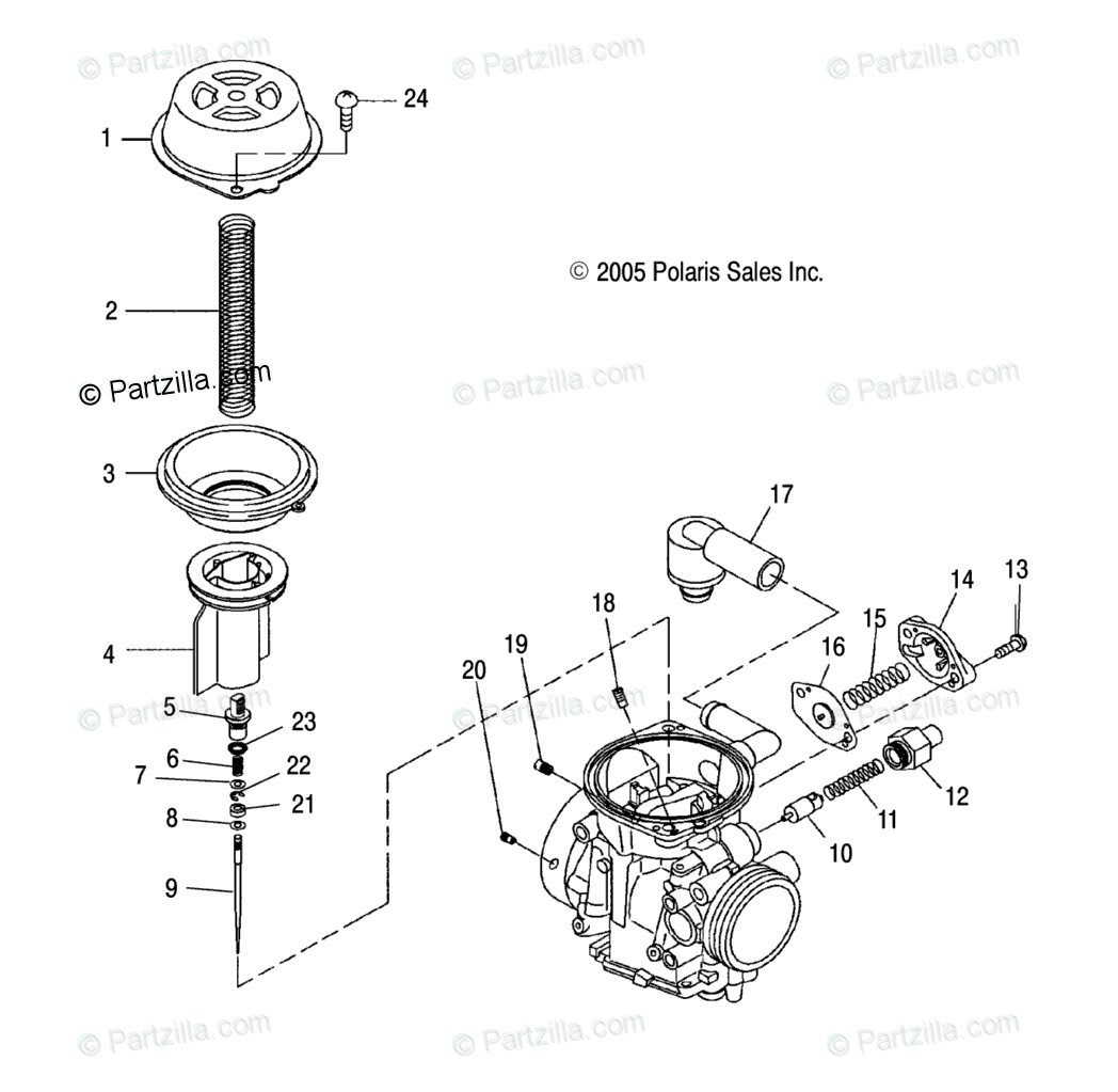 Polaris ATV 2007 OEM Parts Diagram for Engine, Carburetor