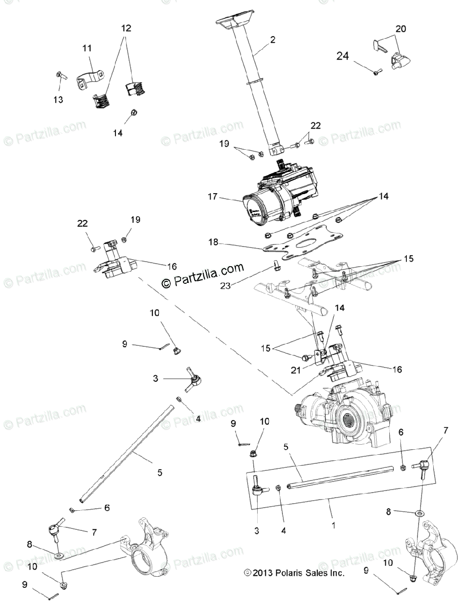 Polaris ATV 2014 OEM Parts Diagram for Steering, Steering