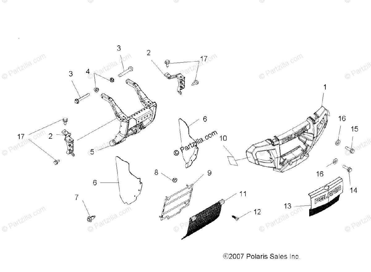 Polaris ATV 2008 OEM Parts Diagram for Body, Front Bumper