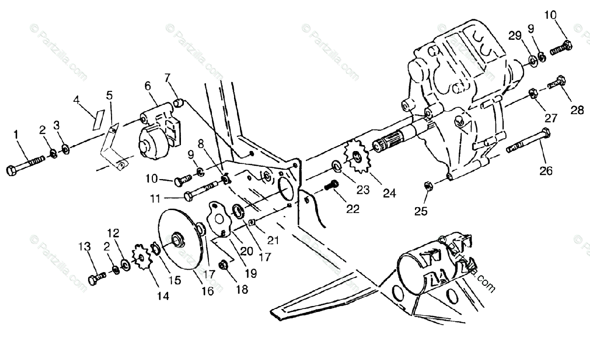Polaris ATV 1996 OEM Parts Diagram for Gearcase/Brake