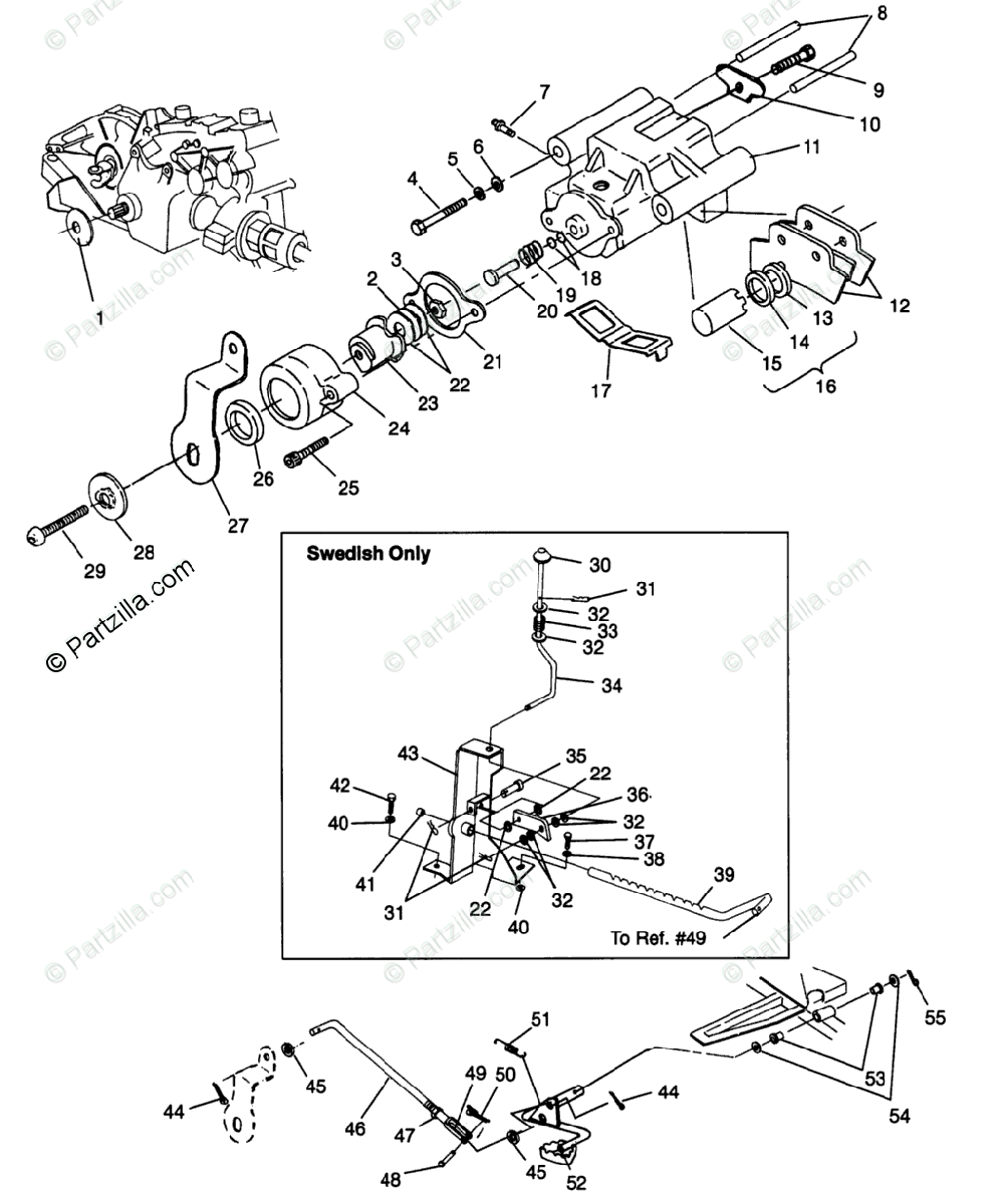 Polaris ATV 1996 OEM Parts Diagram for Rear Brake