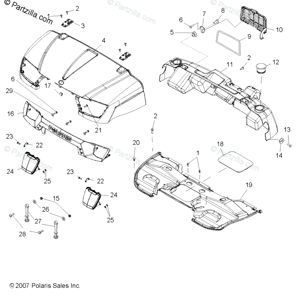 Polaris Side by Side 2008 OEM Parts Diagram for Body, Hood