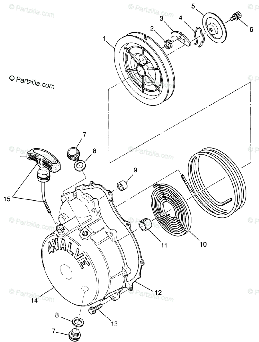 Polaris ATV 1997 OEM Parts Diagram for Recoil Starter