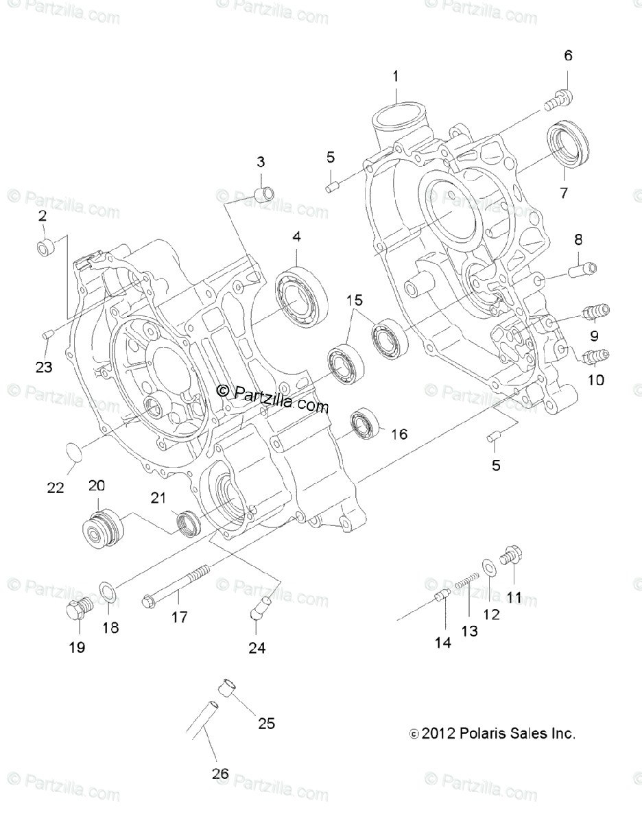 Polaris ATV 2012 OEM Parts Diagram for Engine, Crankcase