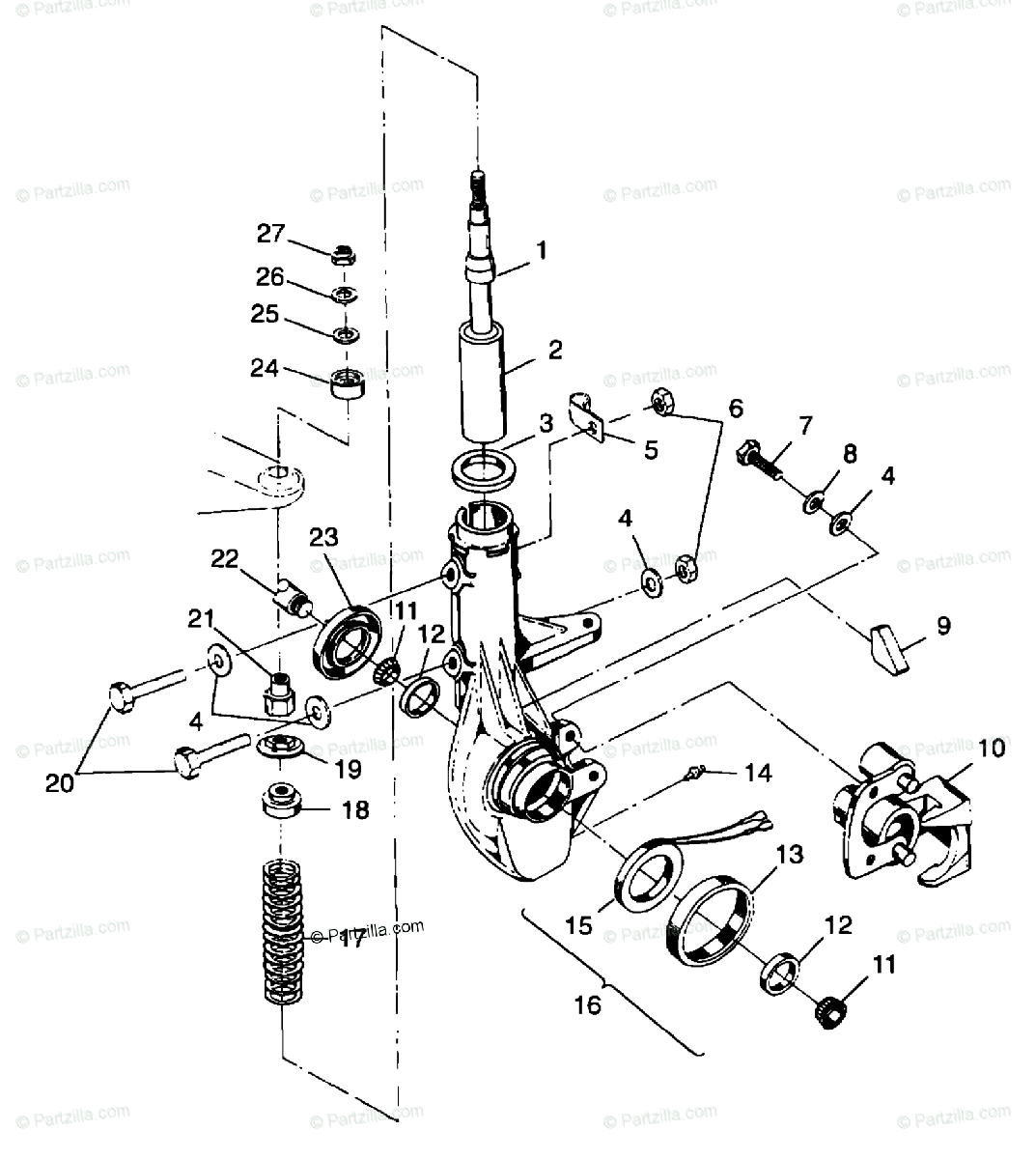 Polaris ATV 1999 OEM Parts Diagram for Front Strut