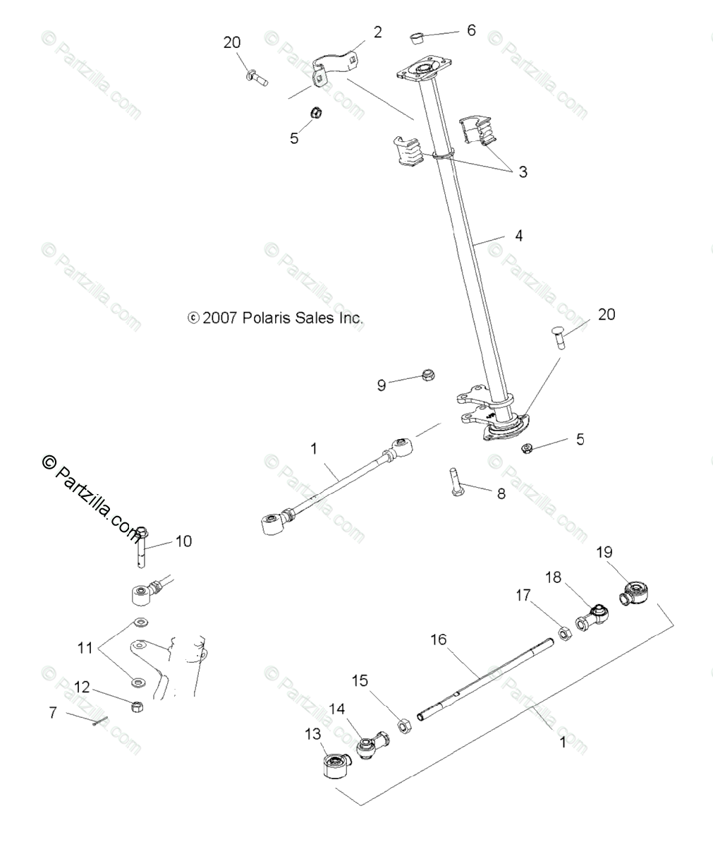 Polaris ATV 2008 OEM Parts Diagram for Steering, Steering