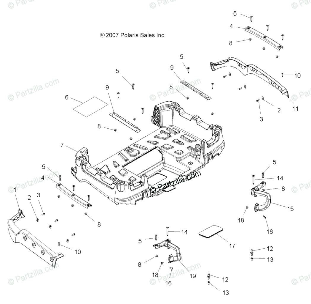 Polaris ATV 2008 OEM Parts Diagram for Body, Box, Rear