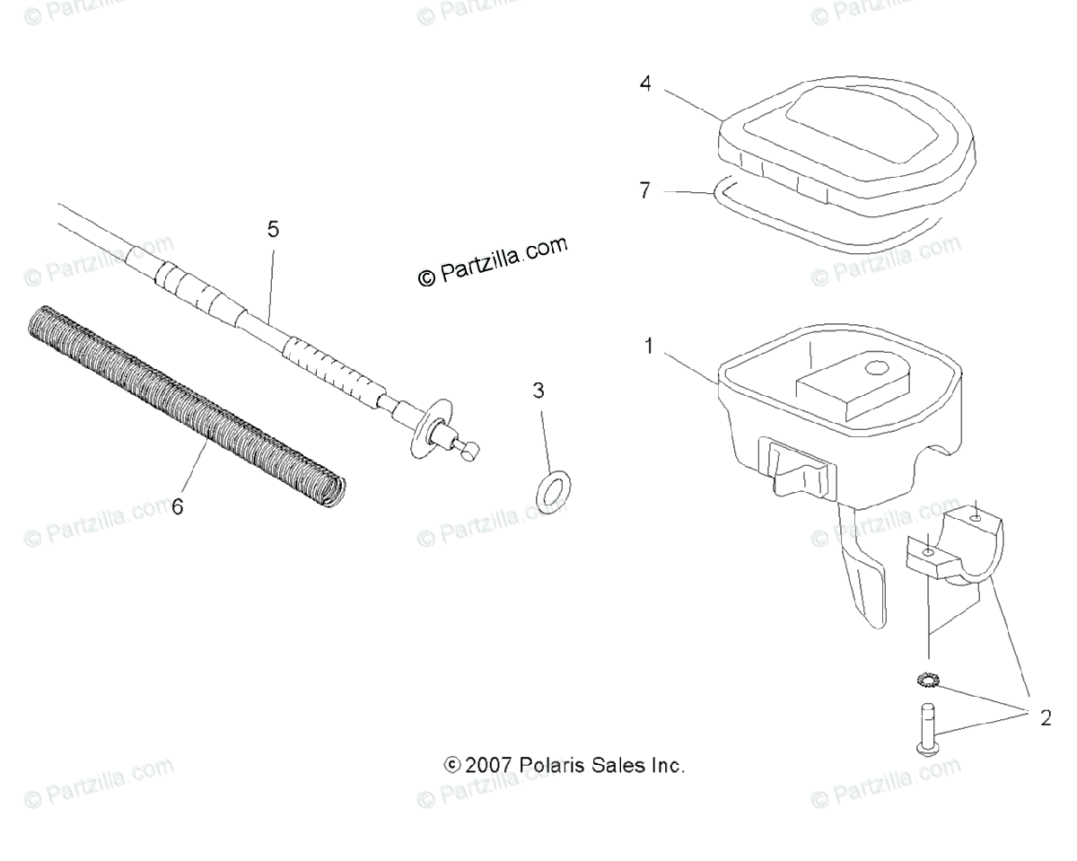 Polaris ATV 2009 OEM Parts Diagram for Steering, Controls