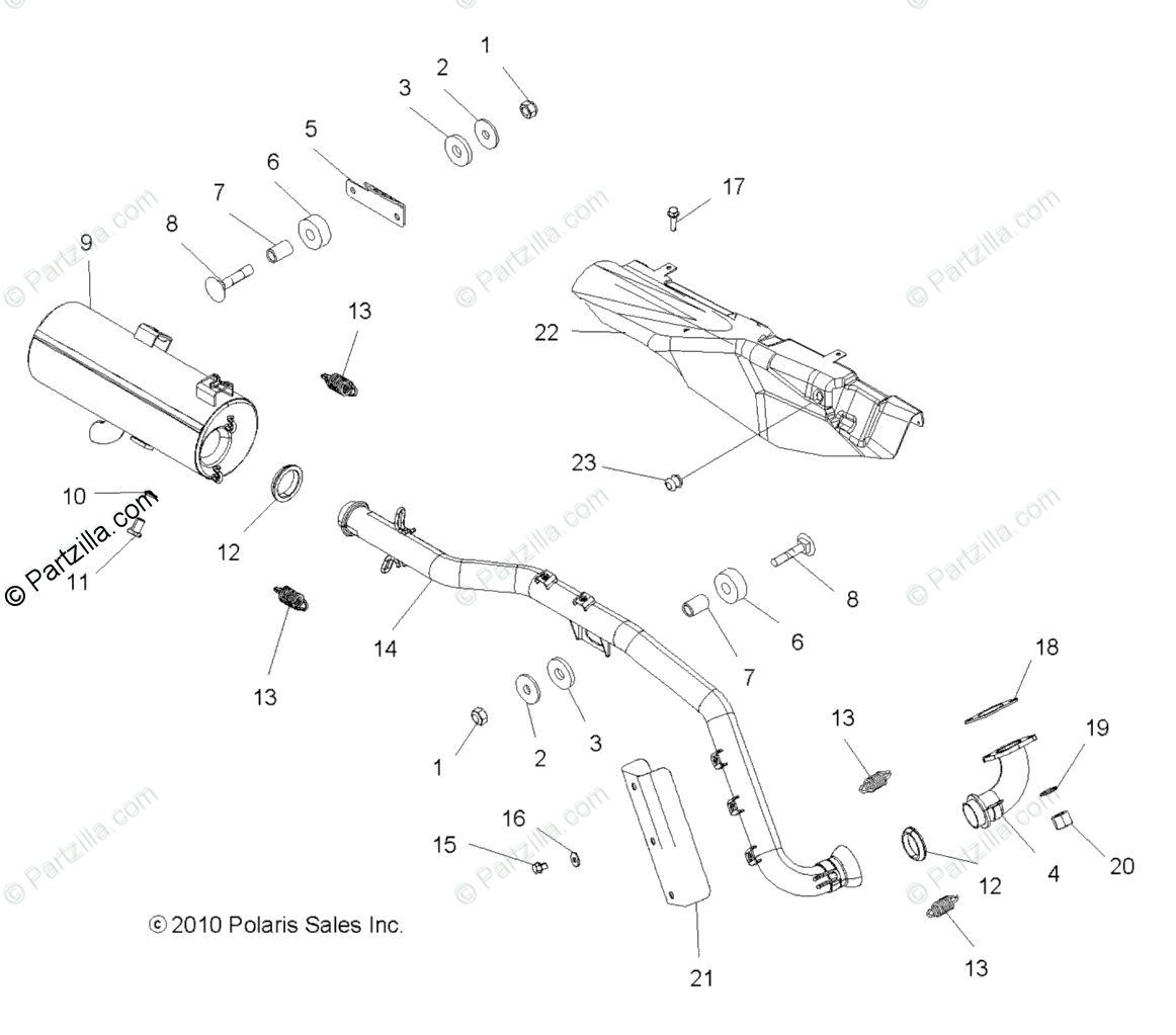 Polaris ATV 2011 OEM Parts Diagram for Engine, Exhaust