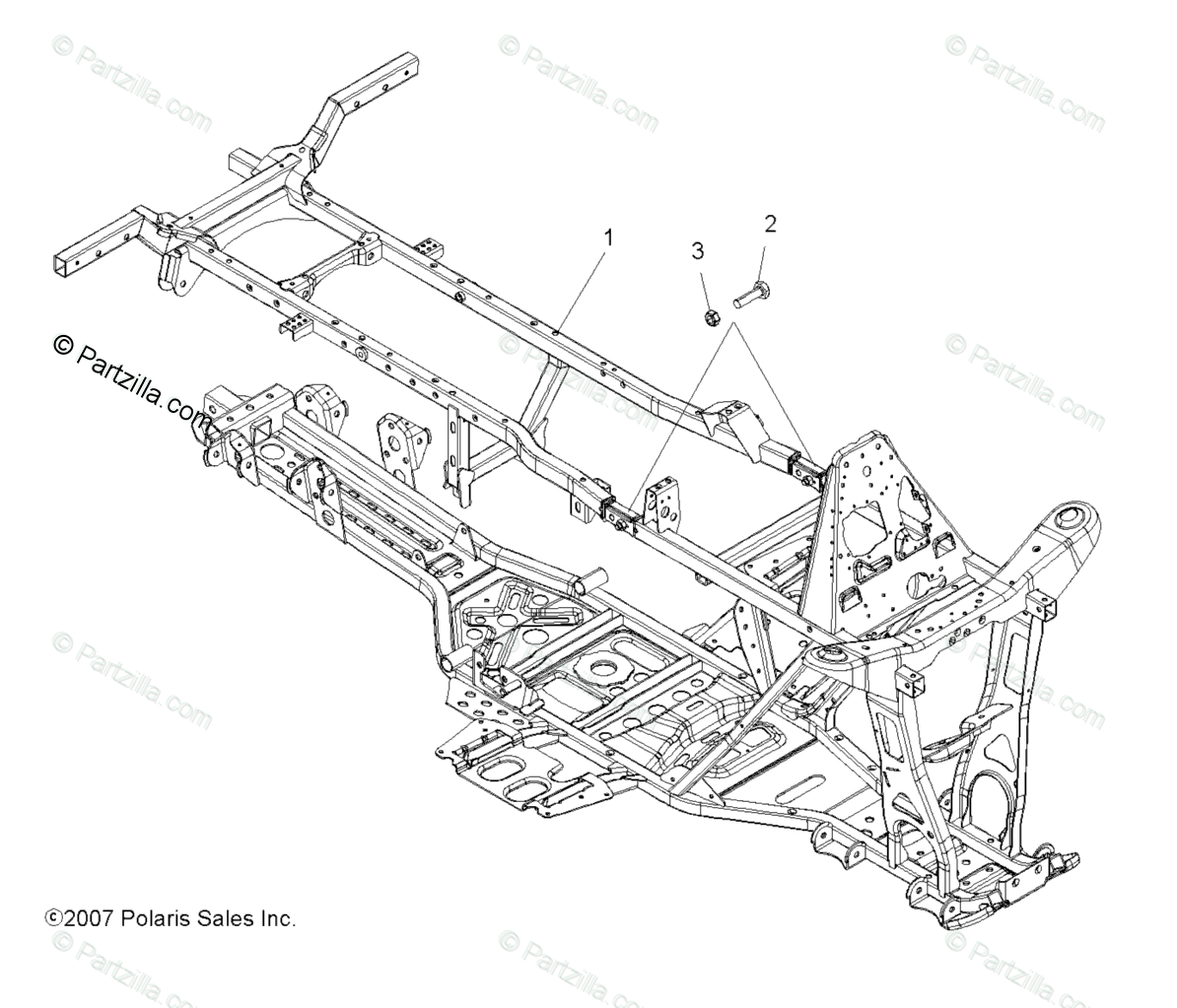 Polaris ATV 2009 OEM Parts Diagram for Chassis Frame
