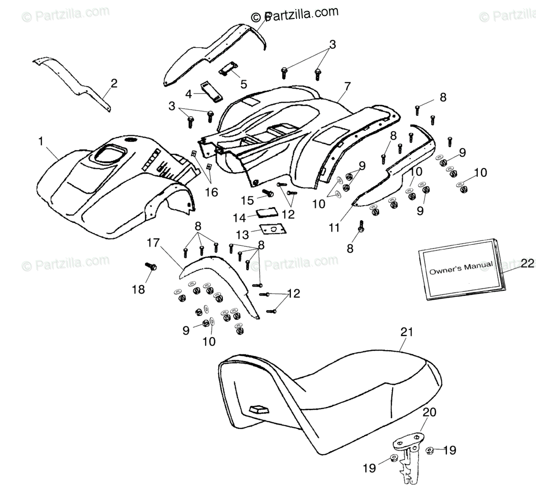 Polaris ATV 2001 OEM Parts Diagram for Fender / Seat