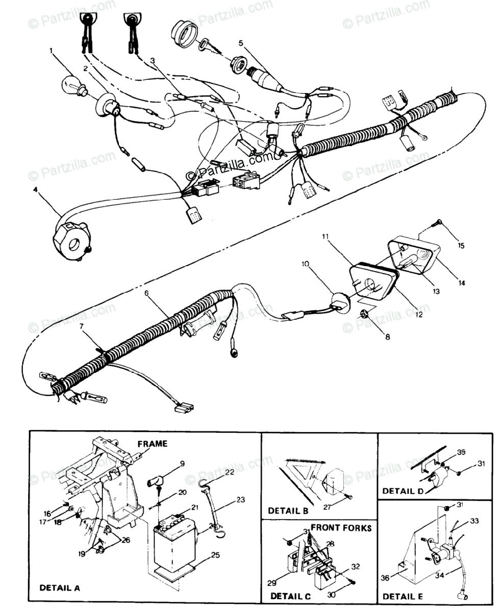 Polaris ATV 1987 OEM Parts Diagram for Wire Harness