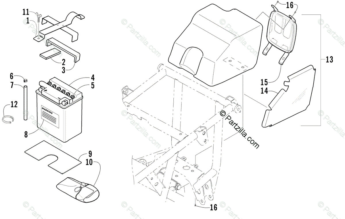 Arctic Cat ATV 2003 OEM Parts Diagram for Storage Box And