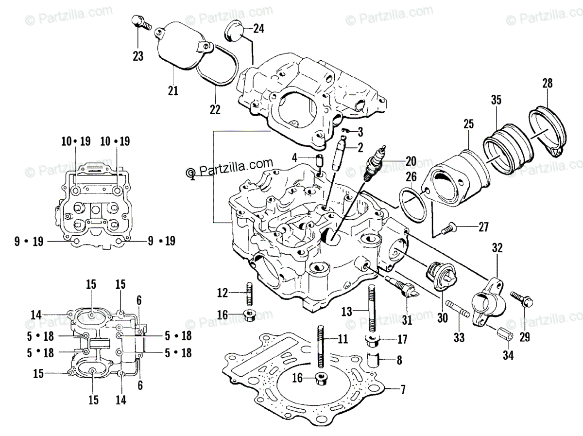Arctic Cat ATV 2002 OEM Parts Diagram for Cylinder Head