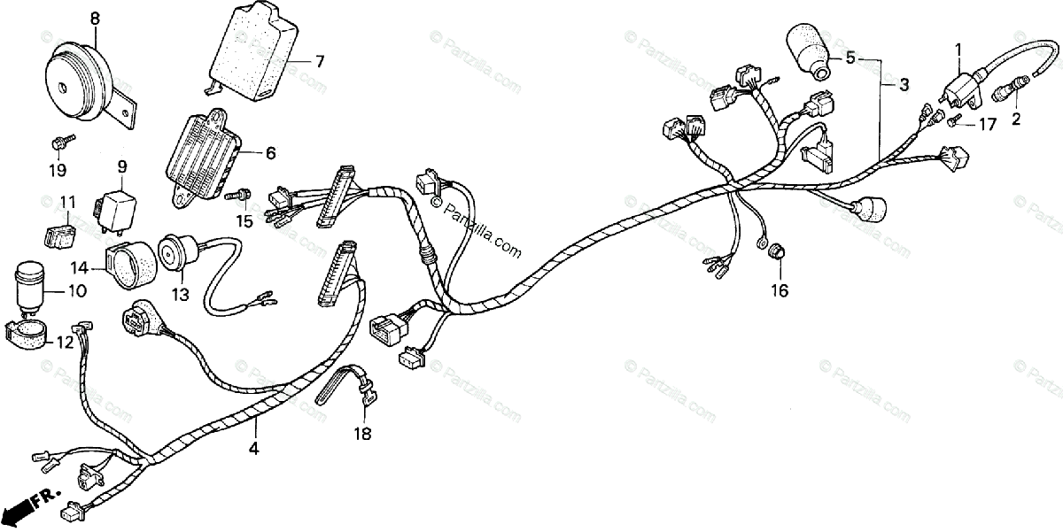 Honda Scooter 1986 OEM Parts Diagram for Wire Harness