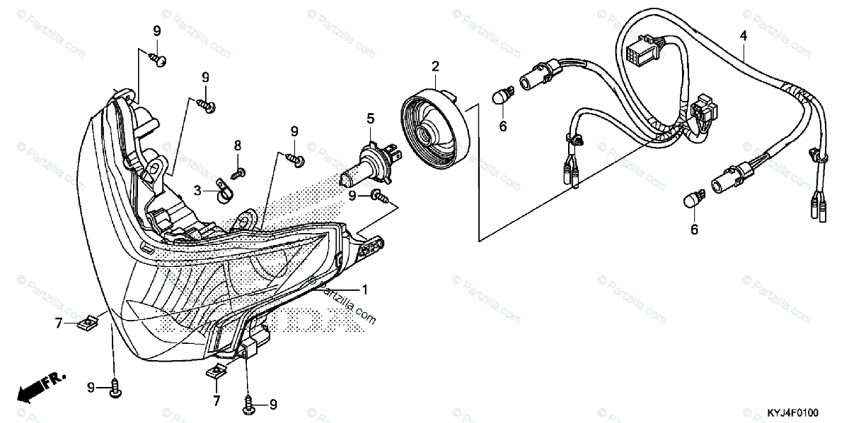 Honda Motorcycle 2012 OEM Parts Diagram for Headlight