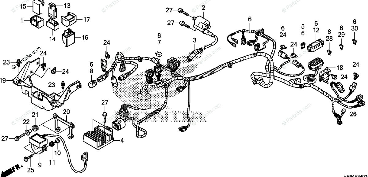 Honda ATV 2008 OEM Parts Diagram for Wire Harness