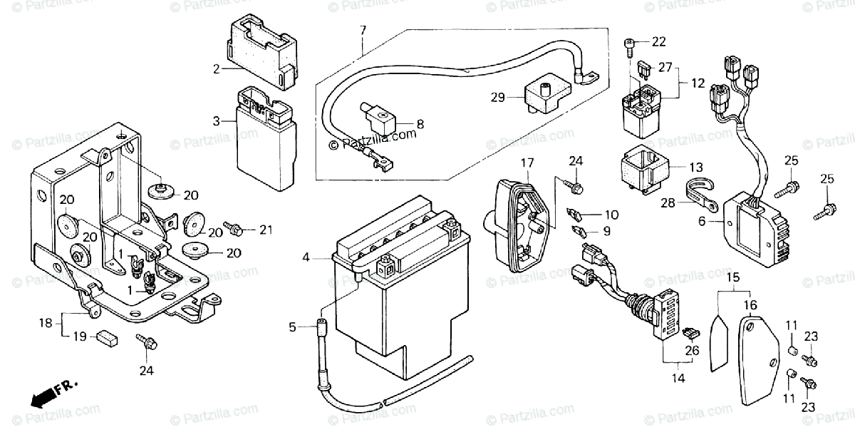 Honda Motorcycle 1998 OEM Parts Diagram for BATTERY