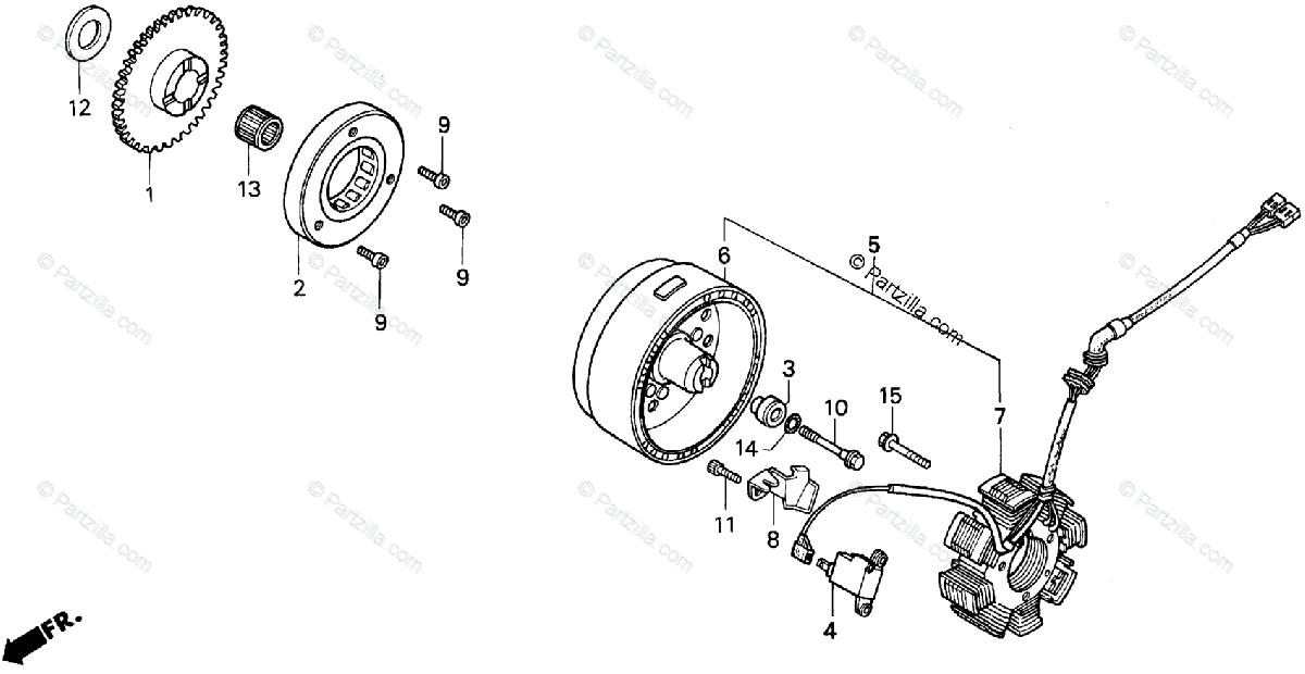 Honda ATV 1993 OEM Parts Diagram for Alternator